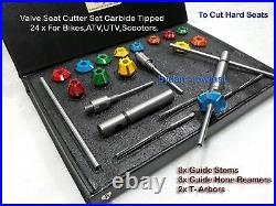 24x VALVE SEAT CUTTER KIT CARBIDE TIPPED KTM, HONDA, KAWASAKI, HYOSUNG HEADS BOXED