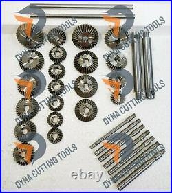34x VALVE SEAT CUTTER SET HIGH CARBON STEEL 21 CTR + 8 STEMS + 2 ARBOR + 2 RODS