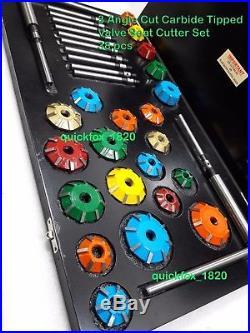 3 Angle Cut Valve Seat Cutter Set Carbide Tipped 38 Pcs To Cut Vintage & Modern