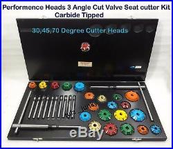 3 Angle Cut Valve Seat Cutter Set Carbide Tipped MOPAR, HEMI, CHEVY, FORD, CHRYSLER