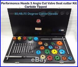 3 Angle Cut Valve Seat Cutter Set Carbide Tipped Performance Head Job