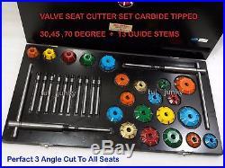 3 Angle Cut Valve Seat Cutter kit Carbide Tipped 30,45,70 Deg