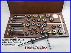 40x High Carbon Steel Valve Seat Cutter Kit Vintage Heads Smooth Cut Fine Teeth