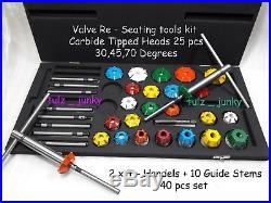 40x VALVE SEAT CUTTER KIT CARBIDE TIPPED DODGE, FORD, CHEVY, CHRYSLER PERFORM HEADS