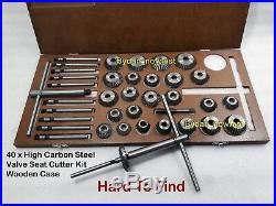 40x VALVE SEAT CUTTER KIT HIGH CARBON STEEL 1.1/4 TO 2.1/8 + 10 X GUIDE STEMS
