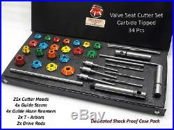 Bikes, Atv, Go Kart Heads Valve Seat Cutter Kit Carbide Tipped 34 Pcs All In One