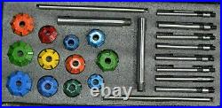 Engine Valve Restoration Carbide Tipped Seat Cutters Kit + 8 Guide Stems Boxed