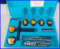 Neway Valve Seat Cutter Set with 6 heads Rod Set with Case USA NICE