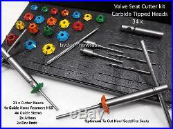 Valve Seat Tool Kit For Bikes Hard Valve Seat Cutter Carbide Tipped 34 Pcs