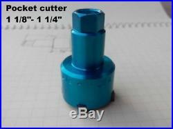 Valve seat pocket cutter adjustable, range 1 1/8- 1 1/4 for 3/8 pilot